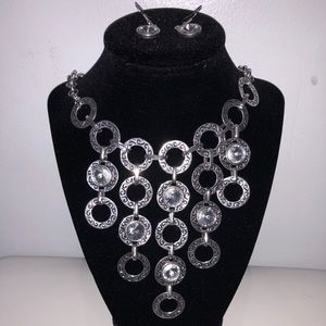 Silver Dangly SET with Rhinestones